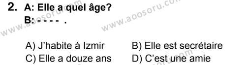 Fransızca 5 Dersi 2014 - 2015 Yılı 3. Dönem Sınavı 2. Soru