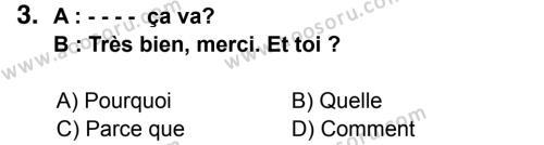Fransızca 5 Dersi 2014 - 2015 Yılı 3. Dönem Sınavı 3. Soru