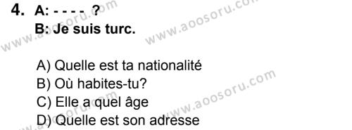 Fransızca 5 Dersi 2014 - 2015 Yılı 3. Dönem Sınavı 4. Soru