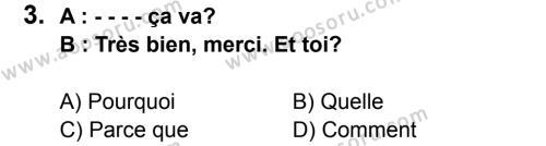 Fransızca 5 Dersi 2015 - 2016 Yılı 1. Dönem Sınavı 3. Soru