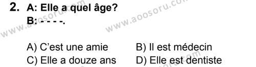 Fransızca 5 Dersi 2015 - 2016 Yılı 2. Dönem Sınavı 2. Soru