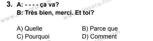 Fransızca 5 Dersi 2015 - 2016 Yılı 2. Dönem Sınavı 3. Soru