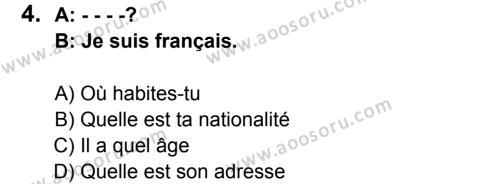 Fransızca 5 Dersi 2015 - 2016 Yılı 2. Dönem Sınavı 4. Soru