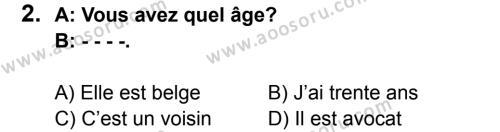 Fransızca 5 Dersi 2015 - 2016 Yılı 3. Dönem Sınavı 2. Soru
