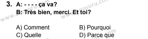 Fransızca 5 Dersi 2015 - 2016 Yılı 3. Dönem Sınavı 3. Soru