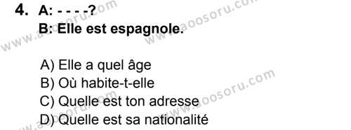 Fransızca 5 Dersi 2015 - 2016 Yılı 3. Dönem Sınavı 4. Soru