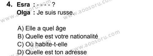 Fransızca 5 Dersi 2016 - 2017 Yılı 2. Dönem Sınavı 4. Soru