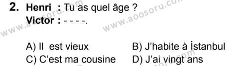 Fransızca 5 Dersi 2016 - 2017 Yılı 3. Dönem Sınavı 2. Soru