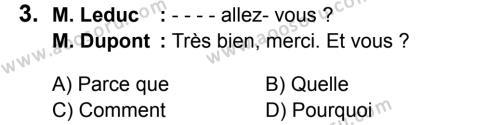 Fransızca 5 Dersi 2016 - 2017 Yılı 3. Dönem Sınavı 3. Soru