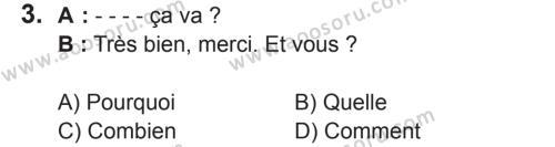 Fransızca 5 Dersi 2017 - 2018 Yılı 2. Dönem Sınavı 3. Soru