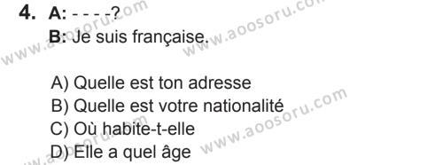 Fransızca 5 Dersi 2017 - 2018 Yılı 2. Dönem Sınavı 4. Soru