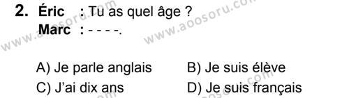Fransızca 5 Dersi 2017 - 2018 Yılı 3. Dönem Sınavı 2. Soru