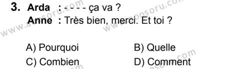 Fransızca 5 Dersi 2017 - 2018 Yılı 3. Dönem Sınavı 3. Soru