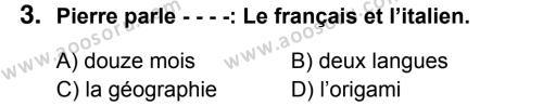 Fransızca 5 Dersi 2018 - 2019 Yılı 1. Dönem Sınavı 3. Soru