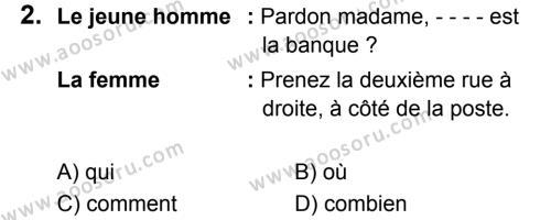 Fransızca 5 Dersi 2018 - 2019 Yılı 3. Dönem Sınavı 2. Soru