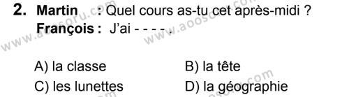 Fransızca 5 Dersi 2019 - 2020 Yılı 1. Dönem Sınavı 2. Soru
