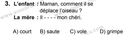 Fransızca 5 Dersi 2019 - 2020 Yılı 1. Dönem Sınavı 3. Soru