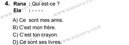 Fransızca 5 Dersi 2019 - 2020 Yılı 1. Dönem Sınavı 4. Soru