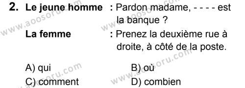 Fransızca 5 Dersi 2019 - 2020 Yılı 2. Dönem Sınavı 2. Soru