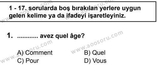 Fransızca 6 Dersi 2011 - 2012 Yılı 2. Dönem Sınavı 1. Soru