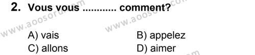 Fransızca 6 Dersi 2011 - 2012 Yılı 2. Dönem Sınavı 2. Soru