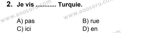 Fransızca 6 Dersi 2012 - 2013 Yılı 1. Dönem Sınavı 2. Soru