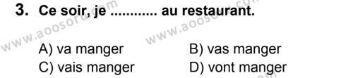 Fransızca 6 Dersi 2012 - 2013 Yılı 1. Dönem Sınavı 3. Soru