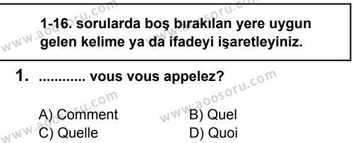Fransızca 6 Dersi 2012 - 2013 Yılı 2. Dönem Sınavı 1. Soru