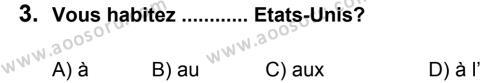 Fransızca 6 Dersi 2012 - 2013 Yılı 2. Dönem Sınavı 3. Soru