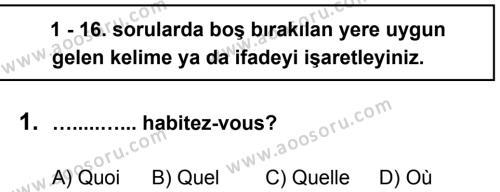 Fransızca 6 Dersi 2012 - 2013 Yılı 3. Dönem Sınavı 1. Soru