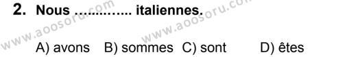 Fransızca 6 Dersi 2012 - 2013 Yılı 3. Dönem Sınavı 2. Soru