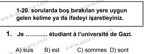 Fransızca 6 Dersi 2013 - 2014 Yılı 1. Dönem Sınavı 1. Soru