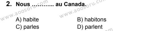 Fransızca 6 Dersi 2013 - 2014 Yılı 1. Dönem Sınavı 2. Soru