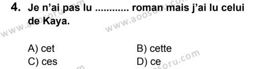 Fransızca 6 Dersi 2014 - 2015 Yılı 1. Dönem Sınavı 4. Soru