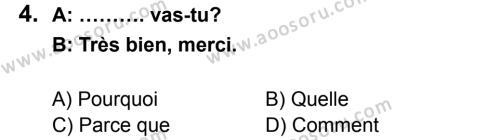 Fransızca 6 Dersi 2014 - 2015 Yılı 2. Dönem Sınavı 4. Soru