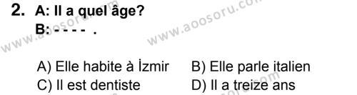 Fransızca 6 Dersi 2014 - 2015 Yılı 3. Dönem Sınavı 2. Soru