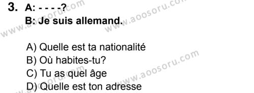Fransızca 6 Dersi 2014 - 2015 Yılı 3. Dönem Sınavı 3. Soru
