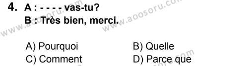 Fransızca 6 Dersi 2014 - 2015 Yılı 3. Dönem Sınavı 4. Soru