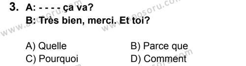 Fransızca 6 Dersi 2015 - 2016 Yılı 2. Dönem Sınavı 3. Soru