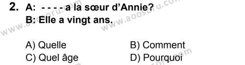 Fransızca 6 Dersi 2015 - 2016 Yılı 3. Dönem Sınavı 2. Soru