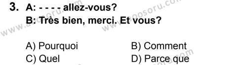 Fransızca 6 Dersi 2015 - 2016 Yılı 3. Dönem Sınavı 3. Soru