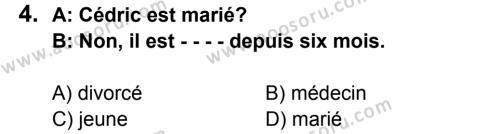 Fransızca 6 Dersi 2015 - 2016 Yılı 3. Dönem Sınavı 4. Soru