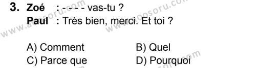 Fransızca 6 Dersi 2016 - 2017 Yılı 2. Dönem Sınavı 3. Soru