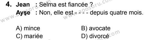 Fransızca 6 Dersi 2016 - 2017 Yılı 2. Dönem Sınavı 4. Soru