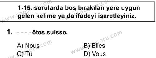 Fransızca 6 Dersi 2016 - 2017 Yılı 3. Dönem Sınavı 1. Soru