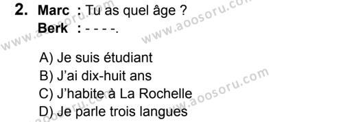 Fransızca 6 Dersi 2016 - 2017 Yılı 3. Dönem Sınavı 2. Soru