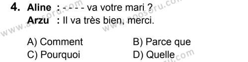 Fransızca 6 Dersi 2016 - 2017 Yılı 3. Dönem Sınavı 4. Soru
