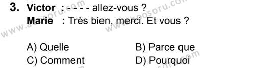 Fransızca 6 Dersi 2017 - 2018 Yılı 1. Dönem Sınavı 3. Soru