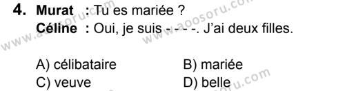 Fransızca 6 Dersi 2017 - 2018 Yılı 1. Dönem Sınavı 4. Soru