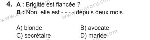 Fransızca 6 Dersi 2017 - 2018 Yılı 2. Dönem Sınavı 4. Soru